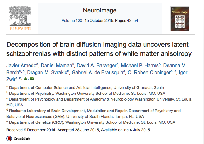 Arnedo, Javier; Mamah, Daniel; Baranger, David A.; Harms, Michael P.; Barch, Deanna M. et al. (2015) Decomposition of brain diffusion imaging data uncovers latent schizophrenias with distinct patterns of white matter anisotropy // NeuroImage - vol. 120 - p. 43-54