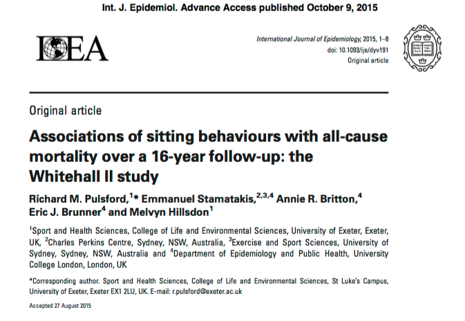 Pulsford, Richard M.; Stamatakis, Emmanuel; Britton, Annie R.; Brunner, Eric J.; Hillsdon, Melvyn (2015) Associations of sitting behaviors with all-cause mortality over a 16-year follow-up: the Whitehall II study // Int. J. Epidemiol. - p. dyv191