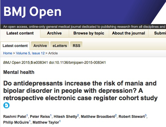 Rashmi Patel et al. Do antidepressants increase the risk of mania and bipolar disorder in people with depression? A retrospective electronic case register cohort study // BMJ Open - 2015
