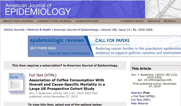 Loftfield E. et al. Association of Coffee Consumption With Overall and Cause-Specific Mortality in a Large US Prospective Cohort Study //American journal of epidemiology. – 2015. – Т. 182. – №. 12. – С. 1010-1022