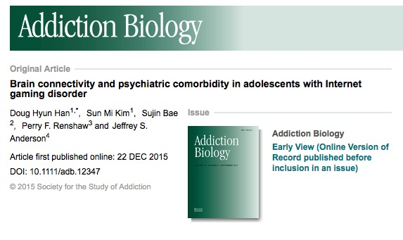 Han Doug Hyun Kim Sun Mi Bae Sujin Renshaw Perry F. Anderson Jeffrey S. Brain connectivity and psychiatric comorbidity in adolescents with Internet gaming disorder / Addiction Biology