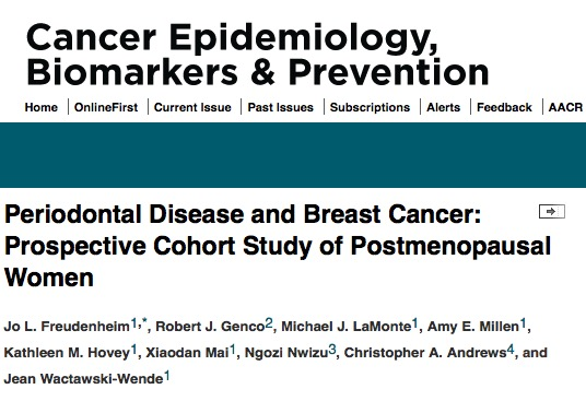 Jo L. Freudenheim et al. Periodontal disease and breast cancer: prospective cohort study of postmenopausal women // Cancer Epidemiology, Biomarkers & Prevention -2015