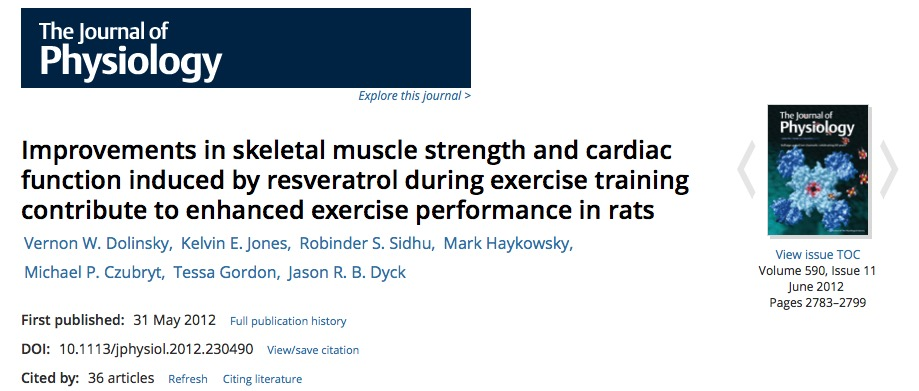 Dolinsky V. W. et al. Improvements in skeletal muscle strength and cardiac function induced by resveratrol during exercise training contribute to enhanced exercise performance in rats //The Journal of physiology. – 2012. – Т. 590. – №. 11. – С. 2783-2799.