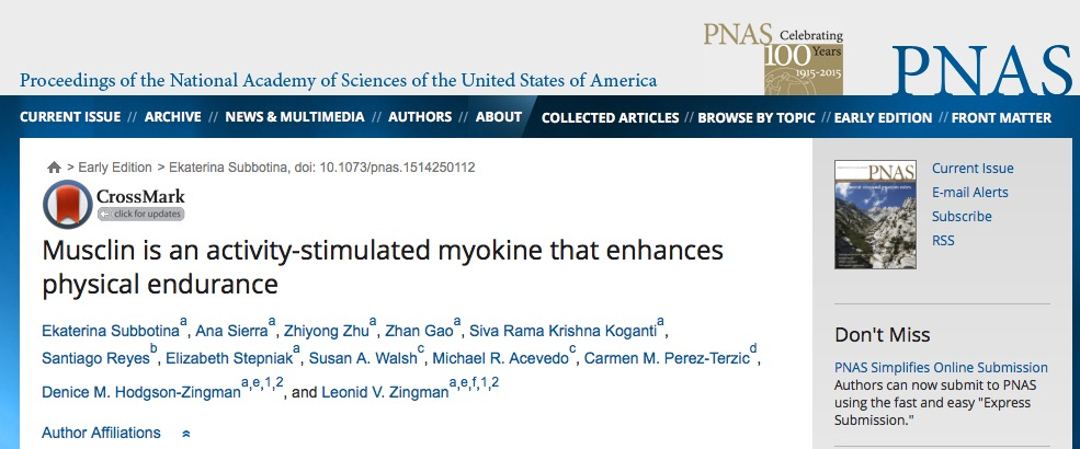 Subbotina E. et al. Musclin is an activity-stimulated myokine that enhances physical endurance //Proceedings of the National Academy of Sciences. – 2015. – С. 201514250.