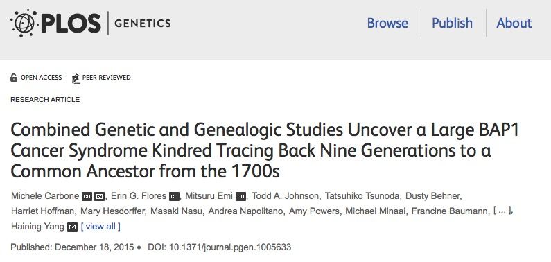 Carbone M. et al. Combined Genetic and Genealogic Studies Uncover a Large BAP1 Cancer Syndrome Kindred Tracing Back Nine Generations to a Common Ancestor from the 1700s //PLoS genetics. – 2015. – Т. 11. – №. 12. – С. e1005633-e1005633