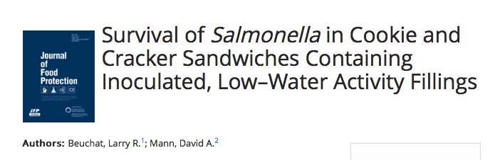 Beuchat L. R., Mann D. A. Survival of Salmonella in Cookie and Cracker Sandwiches Containing Inoculated, Low–Water Activity Fillings //Journal of Food Protection®. – 2015. – Т. 78. – №. 10. – С. 1828-1834.