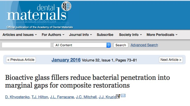 Khvostenko D. et al. Bioactive glass fillers reduce bacterial penetration into marginal gaps for composite restorations //Dental Materials. – 2016. – Т. 32. – №. 1. – С. 73-81.