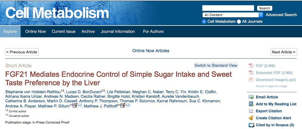 von Holstein-Rathlou S. et al. FGF21 Mediates Endocrine Control of Simple Sugar Intake and Sweet Taste Preference by the Liver //Cell Metabolism. – 2015