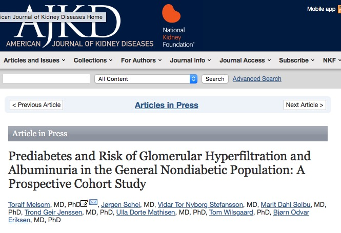 Melsom, Toralf; Schei, Jørgen; Stefansson, Vidar Tor Nyborg; Solbu, Marit Dahl; Jenssen, Trond Geir et al. (2015) Prediabetes and Risk of Glomerular Hyperfiltration and Albuminuria in the General Nondiabetic Population: A Prospective Cohort Study // American Journal of Kidney Diseases
