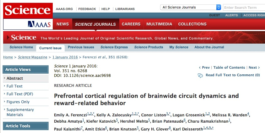 Ferenczi, Emily A.; Zalocusky, Kelly A.; Liston, Conor; Grosenick, Logan; Warden, Melissa R. et al. (2015) Prefrontal cortical regulation of brainwide circuit dynamics and reward-related behavior / Science