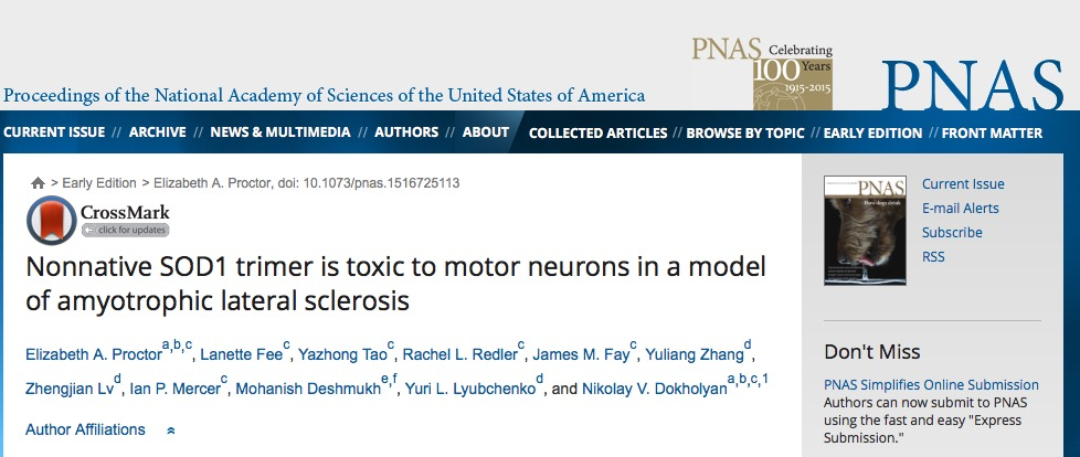 Proctor, Elizabeth A.; Fee, Lanette; Tao, Yazhong; Redler, Rachel L.; Fay, James M. et al. (2015) Nonnative SOD1 trimer is toxic to motor neurons in a model of amyotrophic lateral sclerosis // PNAS - p. 1516725113