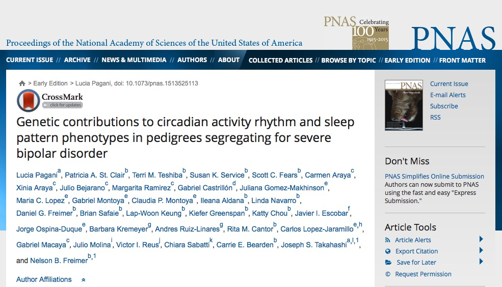 Pagani L. et al. Genetic contributions to circadian activity rhythm and sleep pattern phenotypes in pedigrees segregating for severe bipolar disorder //Proceedings of the National Academy of Sciences. – 2015. – С. 201513525.