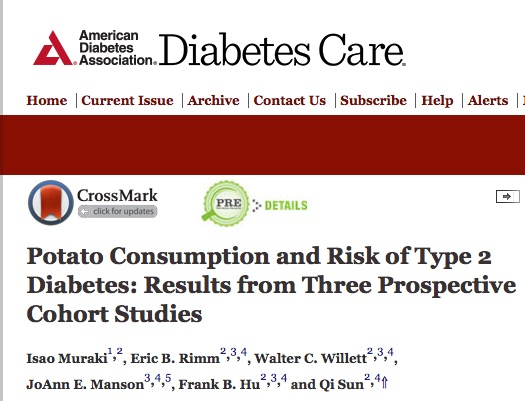 Muraki, Isao; Rimm, Eric B.; Willett, Walter C.; Manson, JoAnn E.; Hu, Frank B. et al. (2015) Potato Consumption and Risk of Type 2 Diabetes: Results from Three Prospective Cohort Studies // Diabetes Care - p. dc15-0547
