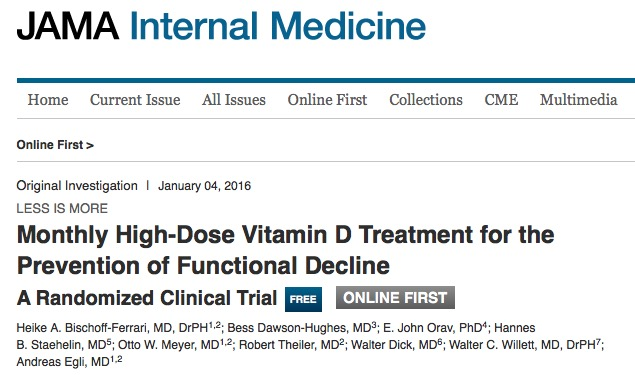 Bischoff-Ferrari, Heike A.; Dawson-Hughes, Bess; Orav, E. John; Staehelin, Hannes B.; Meyer, Otto W. et al. Monthly High-Dose Vitamin D Treatment for the Prevention of Functional Decline: A Randomized Clinical Trial // JAMA Internal Medicine p. 1-10