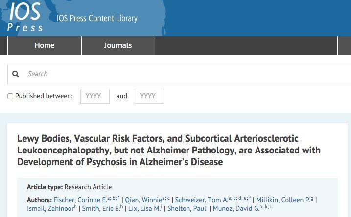 Fischer, Corinne E.; Qian, Winnie; Schweizer, Tom A.; Millikin, Colleen P.; Ismail, Zahinoor et al. Lewy Bodies, Vascular Risk Factors, and Subcortical Arteriosclerotic Leukoencephalopathy, but not Alzheimer Pathology, are Associated with Development of Psychosis in Alzheimer's Disease // Journal of Alzheimer's Disease - vol. Preprint (Preprint) - p. 1-13