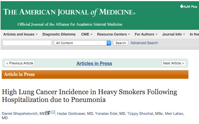 Shepshelovich D. et al. High Lung Cancer Incidence in Heavy Smokers Following Hospitalization due to Pneumonia //The American journal of medicine. – 2015.