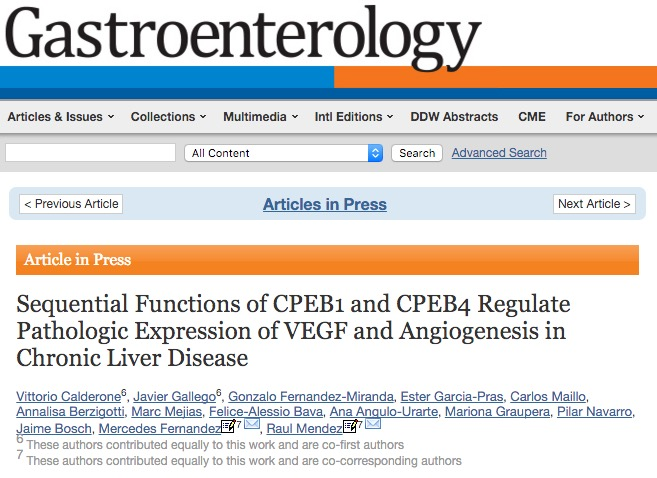 Calderone V. et al. Sequential Functions of CPEB1 and CPEB4 Regulate Pathologic Expression of VEGF and Angiogenesis in Chronic Liver Disease //Gastroenterology. – 2015.