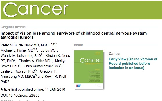 de Blank, Peter M K; Fisher, Michael J; Lu, Lu; Leisenring, Wendy M; Ness, Kirsten K et al. (2016) Impact of vision loss among survivors of childhood central nervous system astroglial tumors. // Cancer