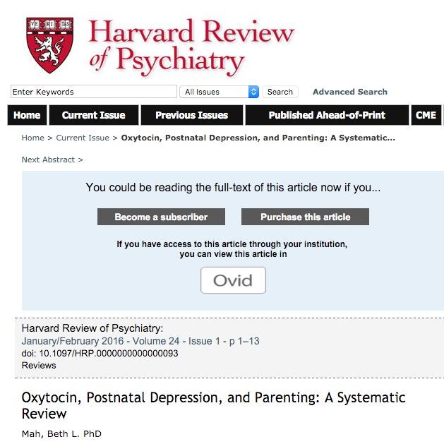 Mah B. L. Oxytocin, Postnatal Depression, and Parenting: A Systematic Review //Harvard review of psychiatry. – 2016. – Т. 24. – №. 1. – С. 1-13.