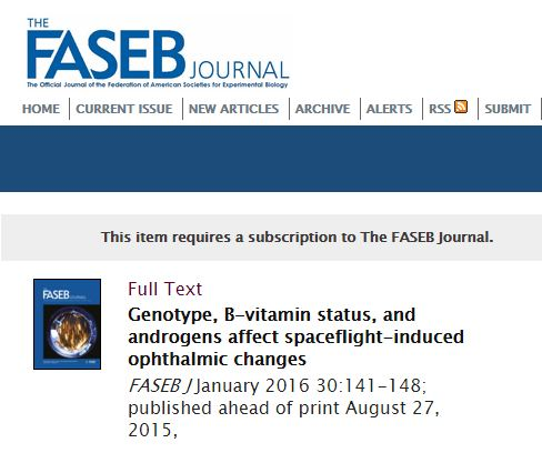 Zwart S. R. et al. Genotype, B-vitamin status, and androgens affect spaceflight-induced ophthalmic changes //The FASEB Journal. – 2016. – Т. 30. – №. 1. – С. 141-148.