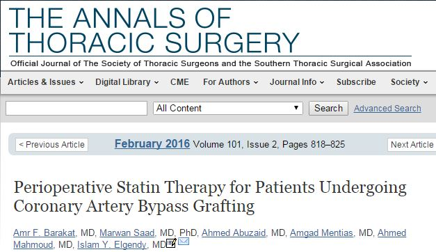 Barakat A. F. et al. Perioperative Statin Therapy for Patients Undergoing Coronary Artery Bypass Grafting //The Annals of Thoracic Surgery. – 2016