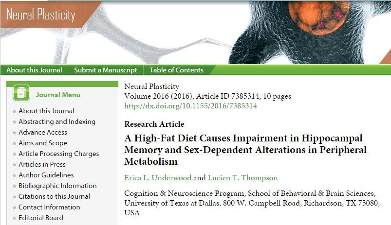 Underwood E. L., Thompson L. T. A High-Fat Diet Causes Impairment in Hippocampal Memory and Sex-Dependent Alterations in Peripheral Metabolism //Neural Plasticity. – 2015. – Т. 2016.