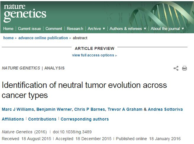 Andrea Sottoriva et al. Identification of neutral tumor evolution across cancer types // Nature Genetics – 2016