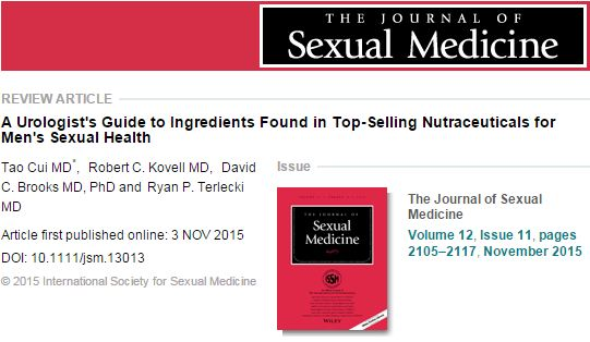 Cui T. et al. A Urologist's Guide to Ingredients Found in Top‐Selling Nutraceuticals for Men's Sexual Health //The journal of sexual medicine. – 2015. – Т. 12. – №. 11. – С. 2105-2117.