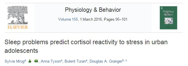 Mrug S. et al. Sleep problems predict cortisol reactivity to stress in urban adolescents //Physiology & behavior. – 2016. – Т. 155. – С. 95-101.