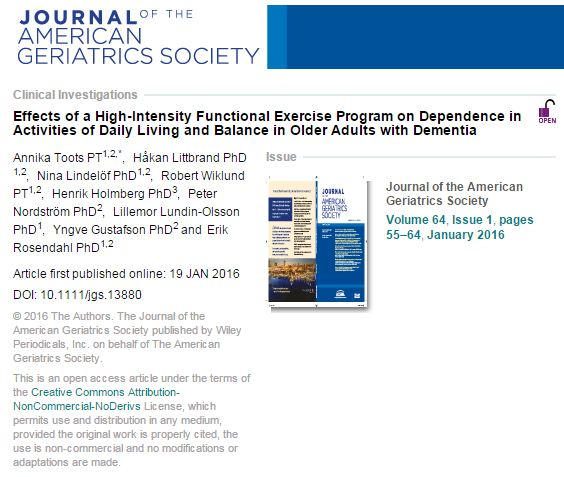 Toots, Annika; Littbrand, Håkan; Lindelöf, Nina; Wiklund, Robert; Holmberg, Henrik et al. (2016) Effects of a High-Intensity Functional Exercise Program on Dependence in Activities of Daily Living and Balance in Older Adults with Dementia. // Journal of the American Geriatrics Society - vol. 64 (1) - p. 55-64