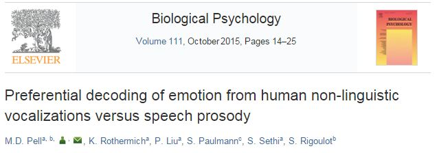 Preferential decoding of emotion from human non-linguistic vocalizations versus speech prosody ©http://www.sciencedirect.com