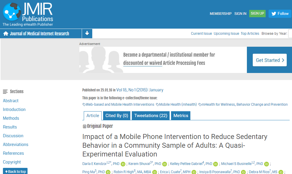 Impact of a Mobile Phone Intervention to Reduce Sedentary Behavior in a Community Sample of Adults: A Quasi-Experimental Evaluation ©