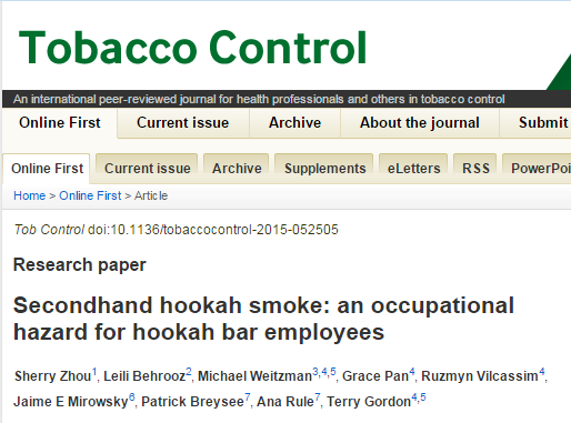 Secondhand hookah smoke: an occupational hazard for hookah bar employees