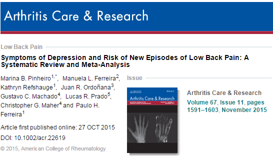 Symptoms of Depression and Risk of New Episodes of Low Back Pain: A Systematic Review and Meta‐Analysis ©