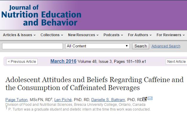 кофе, кофеин, подростки, Journal of Nutrition Education and Behavior,