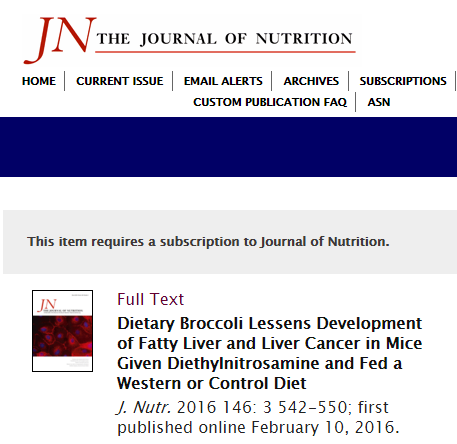 The Journal of Nutrition, рак печени, брокколи, сульфорафан, НАЖБП,