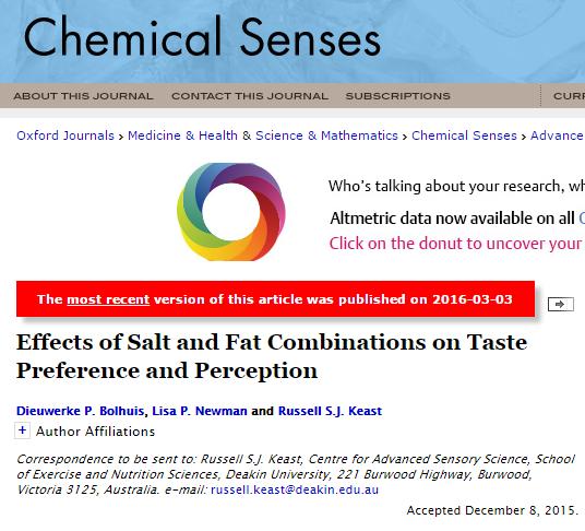 Journal of Nutrition и Chemical Senses, артериальное давление, жир, соль,