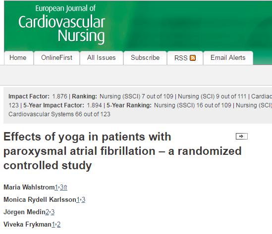 European Journal of Cardiovascular Nursing, аритмия, артериальное давление, инфаркт, йога,