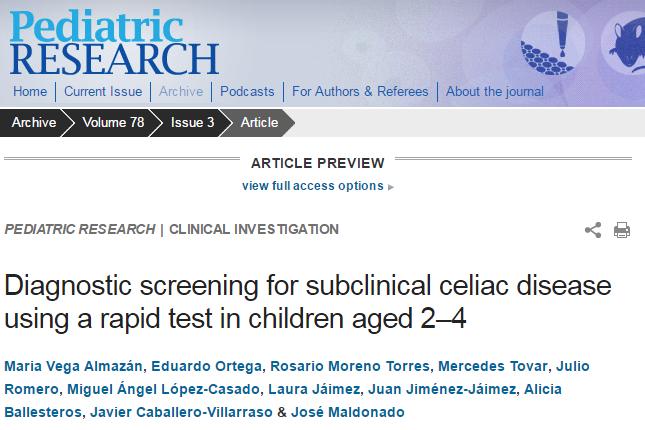 целиакия, Pediatric research
