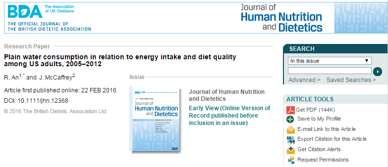 сахар, холестерин, вода, Journal of Human Nutrition and Dietetics