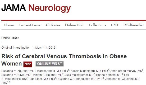 JAMA Neurology, венозная тромбоэмболия, ВТЭ, индекс массы тела, черепно-мозговая травма, оральные контрацептивы,