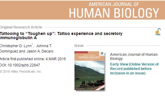 татуировка, инфекция, кортизол, American Journal of Human Biology