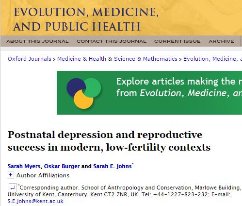 Evolution, Medicine, and Public Health, депрессия, послеродовая депрессия,