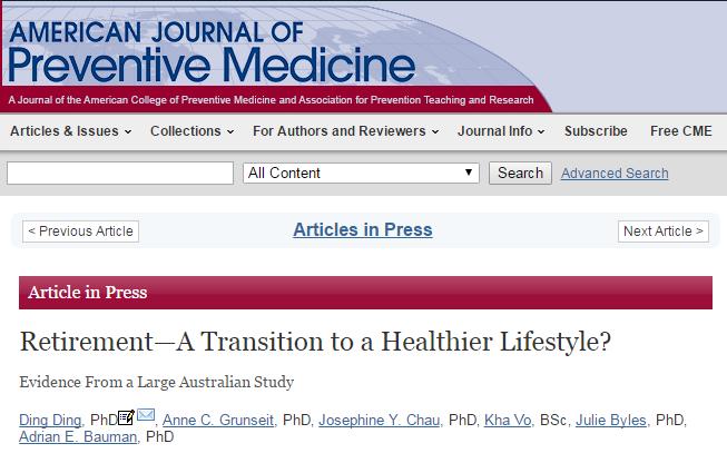 American Journal of Preventive Medicine, активность, возраст, здоровый образ жизни, пенсионеры, физическая активность, пожилые люди,