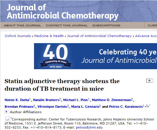 статины, туберкулез, Journal of Antimicrobial Chemotherapy