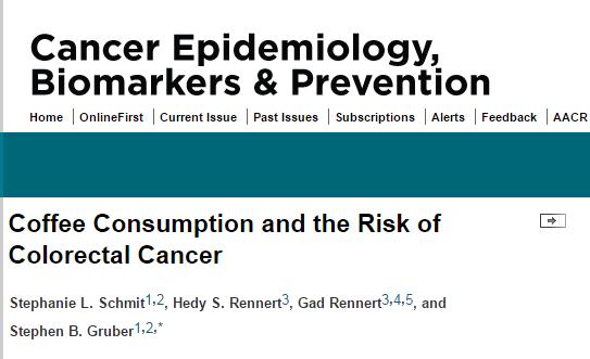 кофе, рак толстого кишечника, Cancer Epidemiology, Biomarkers & Prevention