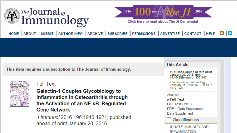 остеоартроз, The Journal of Immunology