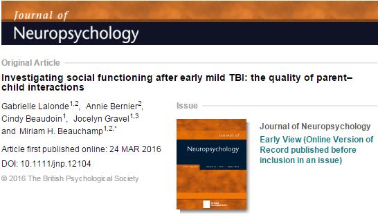 сотрясение головного мозга, ребенок, Journal of Neuropsychology