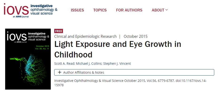 свет, Investigative ophthalmology & visual science, миопия