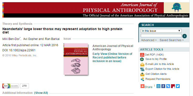American Journal of Physical Anthropology, неандертальцы